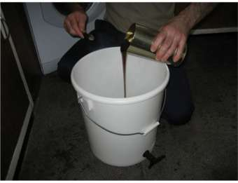 pouring the hopped extract into the fermenter